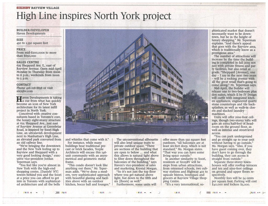 The Globe and Mail compares SIX25BV to the Soori High Line in Manhattan